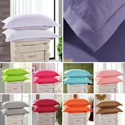 1/2 Pcs Solid Cotton Pillow Cases Covers Standard Queen Size