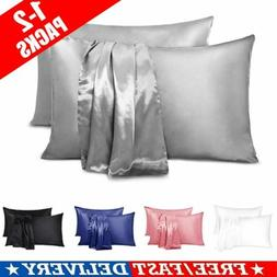 1/2X Satin Silk Pillowcase Pillow Case Cover King Queen Stan