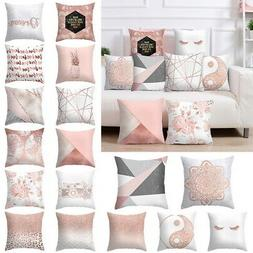 1-Marble Rose Gold Pink Throw Pillow Case Covers Sofa Car Cu