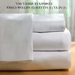 """1 queen size white """"new sheet set"""" t-200 percale hotel flat"""