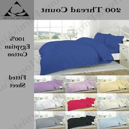 100% Egyptian Cotton Fitted Bed Sheets 200 Thread Single Dou