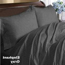 1200Thread Count Egyptian Cotton Elephant Gray Striped All B