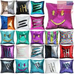 "16"" Magic Mermaid Pillow Case Reversible Sequin Glitter Sofa"