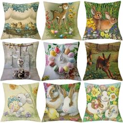 """18""""  Easter Bunny pattern Cotton Linen Home Decoration Cushi"""