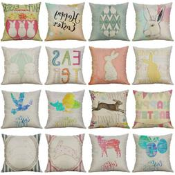 "18"" Easter Pattern Cotton Linen Cushion Cover Pillow Case Ho"