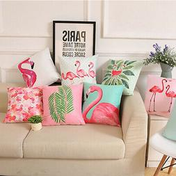 18 Inch Summer Flamingo Throw Pillow Case Sofa Bed Home Deco