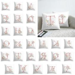 """18"""" Letter Pink Floral Printing Pillow Case Throw Cushion Co"""