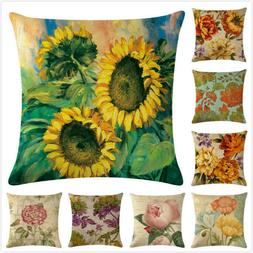 """18"""" Linen Throw Pillow Case American Country Rose Flowers Pr"""