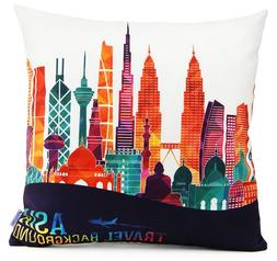 "18"" x 18"" Square Decorative Throw Pillow Case Cover Asia Tra"