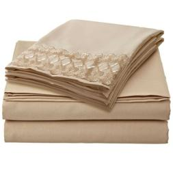 1800 Count 4 Piece Deep Pocket Bed Bed Sheet Set with Lace P