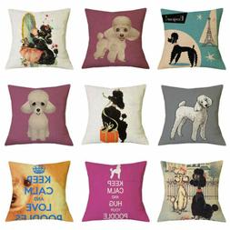 18inch Poodle Pillow Case Cute Dog Cushion Cover Bedroom Sof