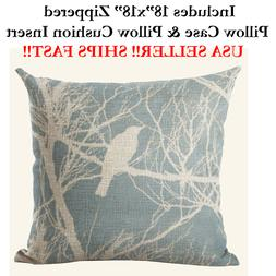 """18x18 18"""" 18in BIRDS ON A LINE BRANCH BABY BLUE Zippered Pil"""