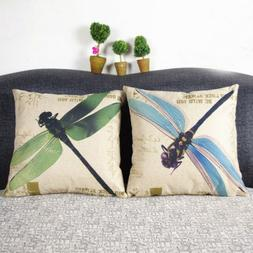 "18X18"" Vintage Dragonfly Cotton Linen Cushion Cover Throw Pi"