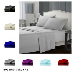 Egyptian Comfort 1900 Count 4 Piece Bed Sheet Set Fitted Fla
