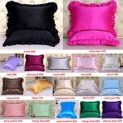 1pc 16mm 100% Mulberry Silk Pillow Case Cover Ruffled Border