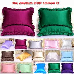 1pc 19mm 100% Mulberry Silk Pillow Case Cover Ruffled Border