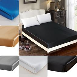 1PC ELEGANT BED SOLID FITTED SHEET MICROFIBER WRINKLE FREE 1