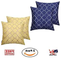 2 Pack Set 18 x 18 Pillow Covers Faux Silk Case Square Throw
