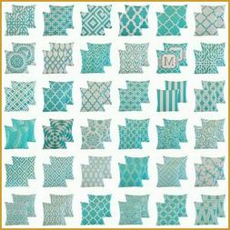 2 Pack Turquoise Blue PILLOW COVER Double-Sided Home Decor C