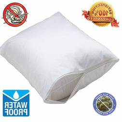 2 Pack Waterproof Hypoallergenic BedBug Zipper Pillow Protec