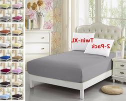 """2-Pack Twin-XL Fitted Sheet, For Split King & Dorm Bed 39""""*8"""