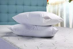 2 Pack Zippered Pillow case Cover Encasement protector stand