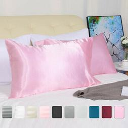 2 PCS Soft Silky Satin Pillowcase Better for Hair and Face S
