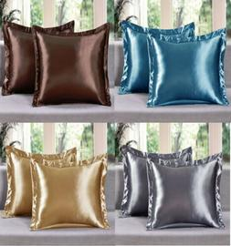 2 Piece LinenPlus Collection Euro Shams Satin Pillow Case Av