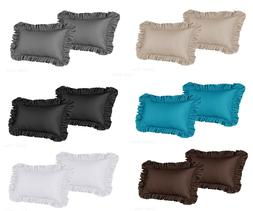 2 Piece Ruffled Shams Solid Cover Case Decorative Pillow Kin