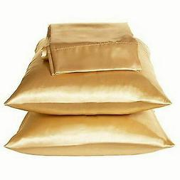 2 Standard / Queen size SATIN Pillow Cases / Covers GOLD Col