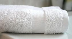 2 White Bath Towels hotel quality, Egyptian cotton blended W