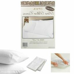 2 White Hotel Pillow Plastic Cover Case Waterproof Zipper Pr