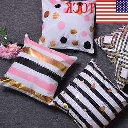 2019 4x Bronzing Cushion Cover Soft Sofa Car Throw Waist Pil