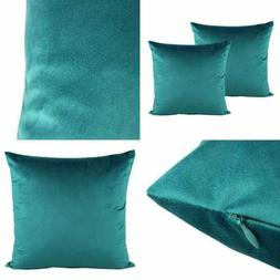 """20X20"""" TEAL Velvet Soft Solid Throw Pillow Covers Decorative"""
