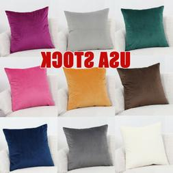 """2PCS 18x18"""" Soft Velvet Solid Throw PILLOW COVER Sofa Couch"""