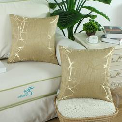 2Pcs Gold Cushion Covers Throw Pillow Case Modern Circles Ri
