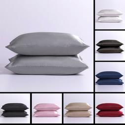 2pcs Satin Silk Pillowcase Standard Soft Home Bedding Cushio