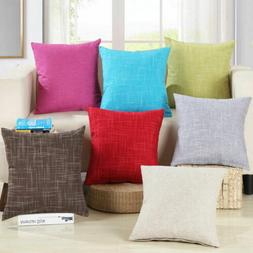 2pcs/Set Plain Cotton Throw Pillow Cases Seat Cushion Cover