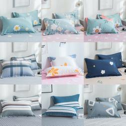 2x Egyptian Cotton Bed Pillow Cases Covers Printed Queen Pil