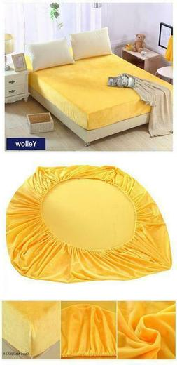 3 PC 14'' Nice Yellow Velvet King 1 Fitted Sheet + 2 Pillow