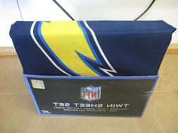 SAN DIEGO CHARGERS TWIN SHEET SET 3 PIECE FITTED FLAT PILLOW