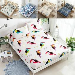 3 Piece Printed Pattern Cotton Bed Sheets Pillow Cases Singl