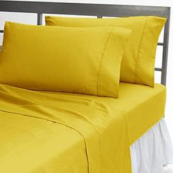 400tc Italian Finish Yellow Solid 2pc Pillow Cases King Size