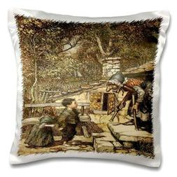 3dRose Print of 1909 Hansel And Gretel Scene - Pillow Case,