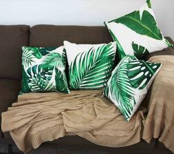 4 Pack Green Leaves Square Throw Pillow Case Sofa Car Home D