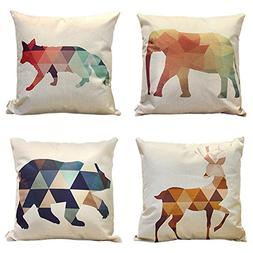 HIPPIH 4 Packs Square Pillowcases - 20 X 20 Inch Decorative