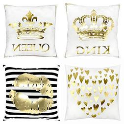 4 Packs Throw Pillow Case Covers Decorative Gold Foil Square
