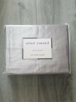 4 Pc Luxury Satin Silky Sheet Set Queen Size Flat Fitted Pil