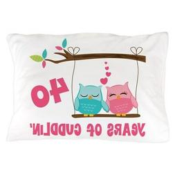 CafePress 40Th Anniversary Owl Couple Pillow Case