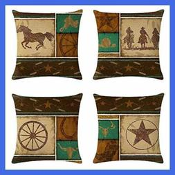 4Pack Cowboy Style Throw Pillow Case Vintage Western Cowboys